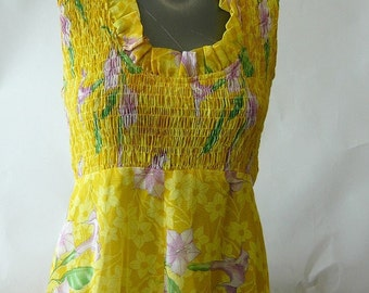 Vintage Yellow Organdy Maxi Dress size small 4 6 8 PATTY O'NEIL Floor Length Full Skirt Floral Empire Hippie