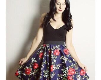 Handmade FLORAL Skirt - Navy Blue Flower skirt - High waisted skirt - Handmade Skirt - Red Blue Skirt - Lynns Rags skirt