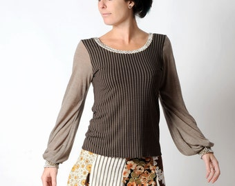 Brown jersey top, Brown and beige patterned top, long sleeve top, geometric print brown top, MALAM womens top, size UK 14