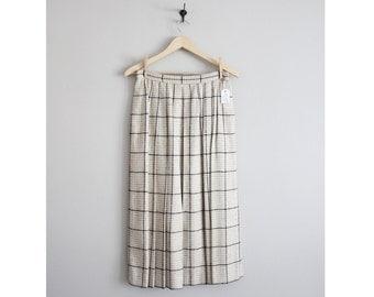 woven silk skirt / plaid skirt / pleated midi skirt