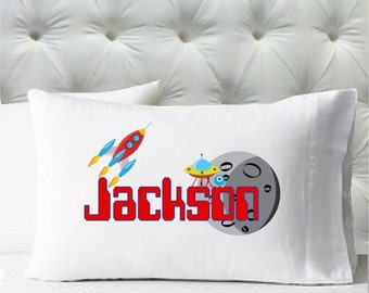 Personalized Boys Standard Size Pillowcase - Outer Space