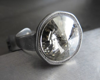 Silver Moon Crystal Ring, Swarovski Rivoli Crystal Ring with Antiqued Silver Cast Adjustable Ring Band, Adjustable Crystal Cocktail Ring