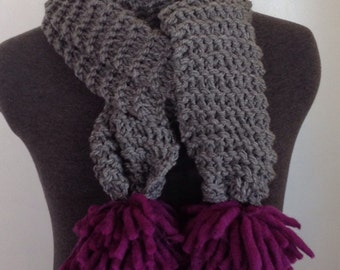 One of a Kind, Hand Knit, Gray Super Scarf with Large Purple Pom Poms