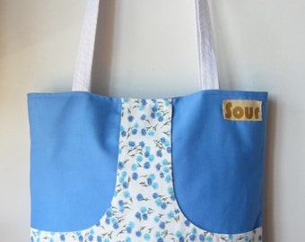ON SALE Chasing Light// Sky Blue and Floral Kangaroo Pocket Tote Bag