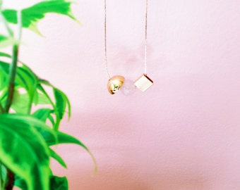 NEW Gold Plated Minimalist Necklace. Stone Jewelry. Delicate Necklace. Geometric Gold Necklace. Bar Necklace. Spheres and Cubes — 001