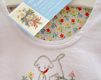 Little Sweet Sheep - Vintage Style Girls Bubble Romper - Hand Embroidered