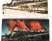 2 Vintage Postcards of Santa Cruz Hotel that Burned - Before and After 1909 1912