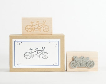 Tandem Bicycle Rubber Stamp Weddings
