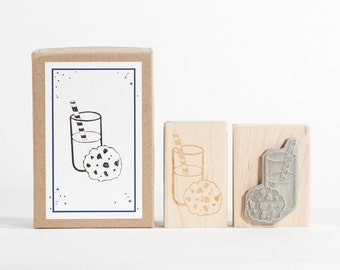 Milk and Cookie Rubber Stamp
