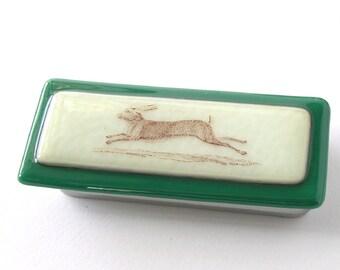 Wild Hare . Fused glass Box . Racing Rabbit . Brown Rabbit - Vintage Bunny - Petite Sewing Box . Tiny Box . Sewing Box . Needles and Pins