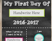 First Day of School Sign. Printable. Instant Download. Any Grade. 2016. 2017. Fill in the Blanks. Chalkboard Printable. Pink Colors. SALE