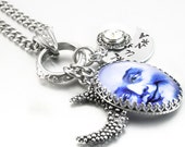 Silver Moon Necklace, Man in the Moon Silver Jewelry, Celestial Necklace, Moon Pendant, Luna Necklace