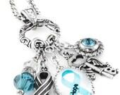 Ovarian Cancer Awareness Charm Necklace, Ovarian Cancer Jewelry, Customized Ovarian Cancer Jewelry, Personalized Ovarian Cancer Jewelry