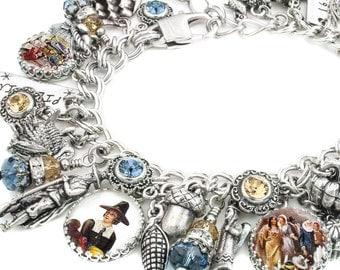 Thanksgiving Jewelry - Pilgrim Charm Bracelet - Autumn Bracelet - Pilgrims Landing