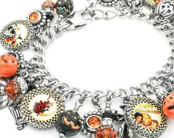 Pumpkin Halloween Jewelry, Halloween Charm Bracelet, Pumpkin Bracelet, Orange and Black