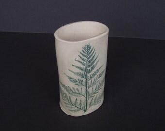 handmade ceramic vase . fern impression . hand-built pottery vessel