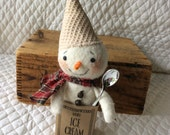 Primitive cute little snowman snowmen in ice cream container with silver spoon number 2 by yellowsweetpotato