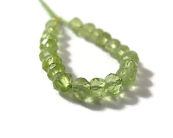 Twenty Peridot Beads, 20 Green Small Faceted Rondelles, Natural Gemstones, August Birthstone, 3.5-4mm (L-Pe2)