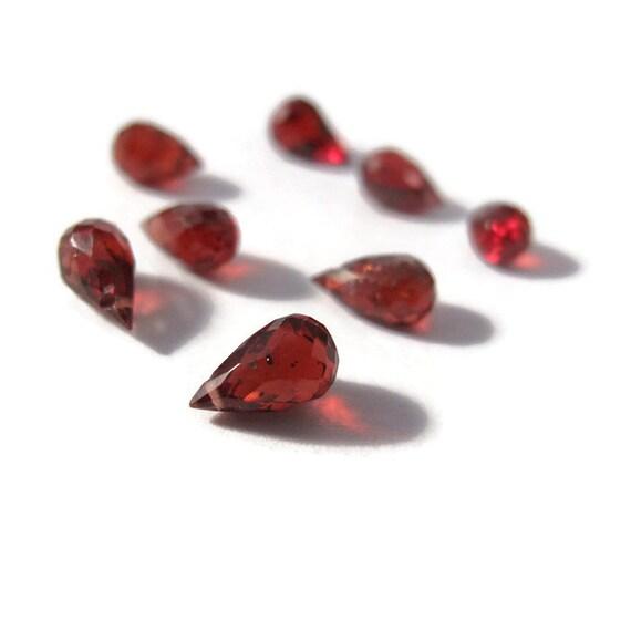 8 Garnet Beads, Tiny Dark Red Natural Gemstones for Making Jewelry, January Birthstone, 7x4mm, Eight Little Garnet Beads (L-Mix31)