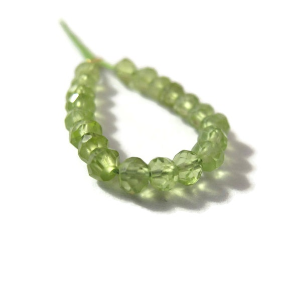 Last 17 Peridot Beads, 17 Green Small Faceted Rondelles, Natural Gemstones, August Birthstone, 3.5-4mm (L-Pe2)