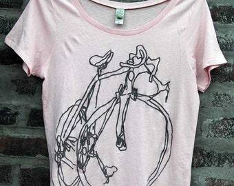 Classic Road Bike Graphite Sketch Bicycle Art Scoop Neck Womens T  M & XL