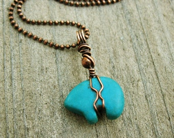 Stone Bear Necklace - turquoise magnesite stone bear wrapped in antiqued copper