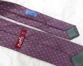 Authentic Hermes Silk Necktie  - Tiny Paisley Print Warm Maroon and BluePre- Owned  Vintage 1980s