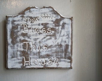 Bless this house - vintage sign board - art  project - sewing room - hobby room - scrapbook