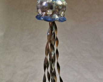 Jellyfish Ornament with Copper tentacles 16-0156