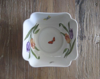 Rochard Limoges France Porcelain Bowl with Tulips and Butterflies