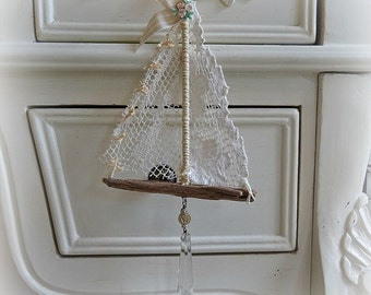 beige lace - driftwood and lace hanging sailboat - NO412