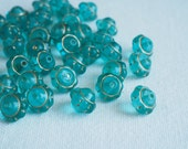 DESTASH 20 PCS Czech Glass Saucer Beads Aqua with Gold 9mm