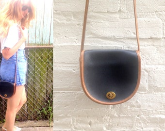 1990s Authentic COACH Saddlebag purse / navy leather / mini small // 1980s / classic style / pouch / cross body strap / long / pockets