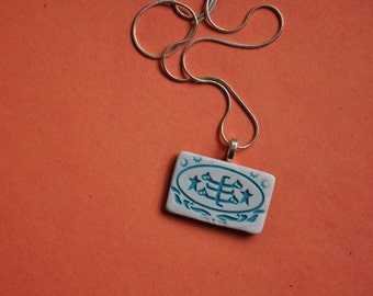 Baha'i Ringstone Symbol Necklace- porcelain rectangle in turquoise blue and white