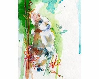 Bunny Rabbit Art Print. Bunny Lover Art. Rabbit Watercolour Print. Rabbit Wall Art. Curios Bunny.