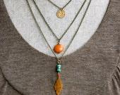 Celeste. Bohemian beaded charm layered necklace. Tiedupmemories