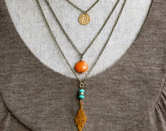 Celeste. Bohemian beaded charm layered necklace. Tiedupmemories