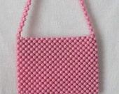 Pink Purse 1960s Mod Shoulder Bag Beaded Purse New Old Stock / Deadstock Vintage Bag