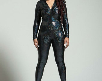 Plus Size Unisex Hooded Black Holographic Bodysuit - FREE SHIPPING in the US