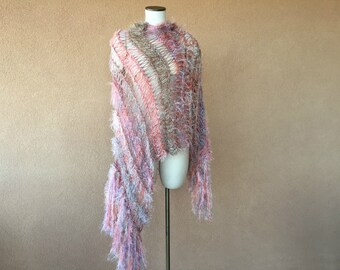 Gift for Women Gift Mothers Day Gift Shawl Wrap Coral, Peach Taupe, Beige, Grey, Lavender, Mauve Fringe Shawl