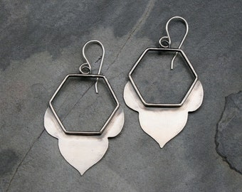 Honeycomb Lotus Earrings, Solid Sterling Silver Handcrafted Earrings, Dangle Open Bloom Hexagon Flower, Geometric Floral Zen Minimalist