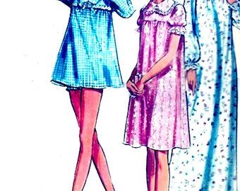 Plus size pyjamas panties vintage 70s babydoll sewing pattern McCalls 3035 Bust 42 to 44 UNCUT