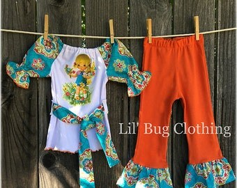 Big Eyed Girl Damask Fall Outfit, Retro Big Eyed Girl Clothes, Big Eyed Girl Birthday Party Outfit,Fall Toddler Outfits