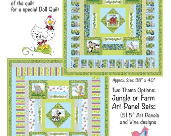 """5"""" Art Panel Animal  Pattern for a  Baby Quilt"""