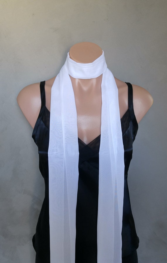 Extra Long White Slim Skinny Scarf (71 X 6 inches) Lightweight Sheer Super Skinny Scarf