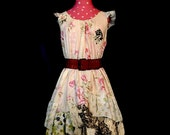 Size 16-18 Country Print Dress: Old Fashioned Garden - XL, floral print, creamy pink, soft summer dress, upcycled, repurposed Plus sz