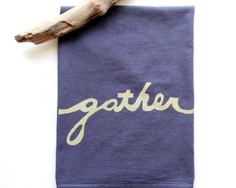 Gather Tea Towel in Eggplant and Gold / Gather Flour Sack Towel / Hand Dyed Dish Towel / Eggplant and Gold / Hand Printed Tea Towel