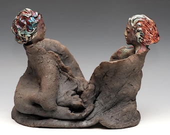 Two Buddhas Two Bodhisattvas Facing Each Other in Raku Figurative Ceramics