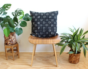 """African Mudcloth, 20 inch Pillow Cover, Black Mud Cloth, 20"""" x 20"""", Rose Gold, Boho Decor, Black and White Pillow, Bogolan, Mudcloth Pillow"""