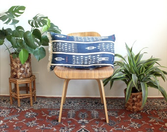 Indigo Ikat Lumbar Pillow, Vintage Indigo Tie Dye, Fringe Pillow Cover, Linen Lumbar, 15x25, Rose Gold, Bohemian Decor, Tie Dye Pillow, Boho